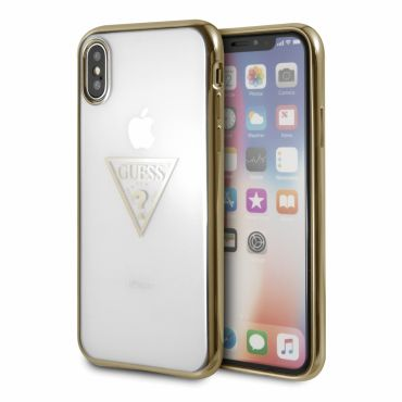 [GUESS] TRIANGLE LOGO TRANSPARENT TPU CASE for iPhone X (GOLD)【JAPANEXCLUSIVE ITEM】