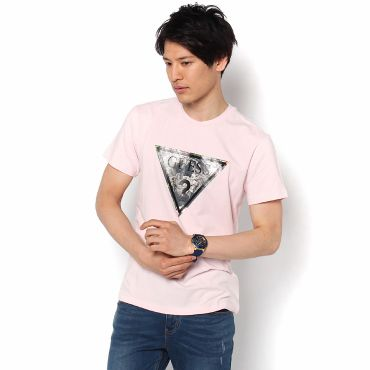 [GUESS] MEN'S S/S FLORAL TRIANGLE LOGO TEE