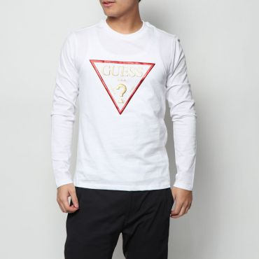 [GUESS] METALLIC TRIANGLE LOGO L/S TEE