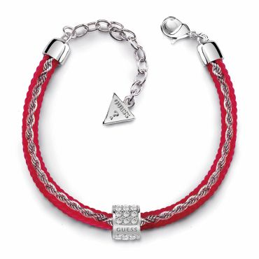 [GUESS] G COLORS SILICONE CORD&CHAIN BRACELET (RED/SILVER)